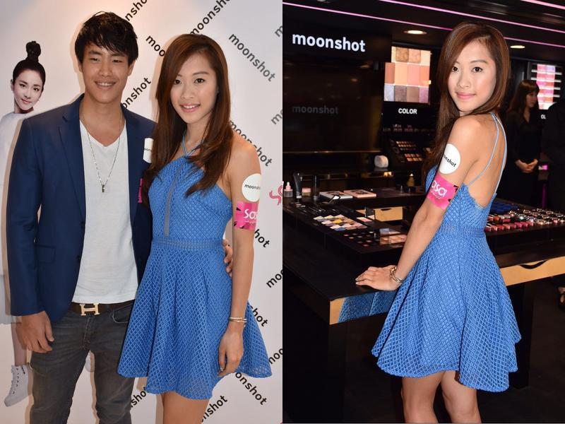 龐卓欣與男友出席韓國化妝品牌活動。
