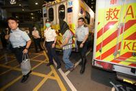 被捕小巴司機由救護車送院檢查。黃文威攝