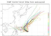 各國對米雷的路徑預測不同。網圖