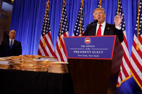 美國候任總統特朗普舉行當選後首個記者會。AP