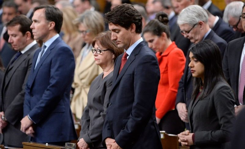 杜鲁多出席烛光悼念晚会。Canadian Press