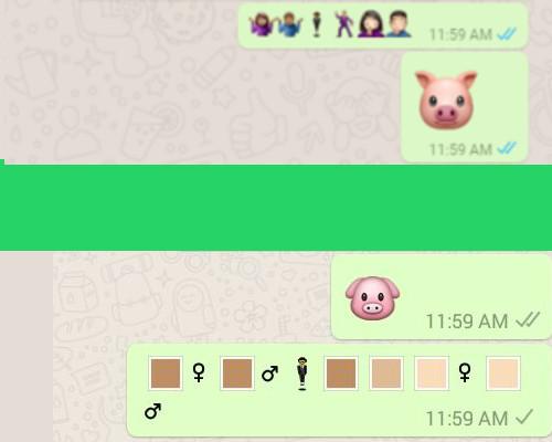 網上版WhatsApp即日更新(上),但手機未更新則不能看到 (下)。
