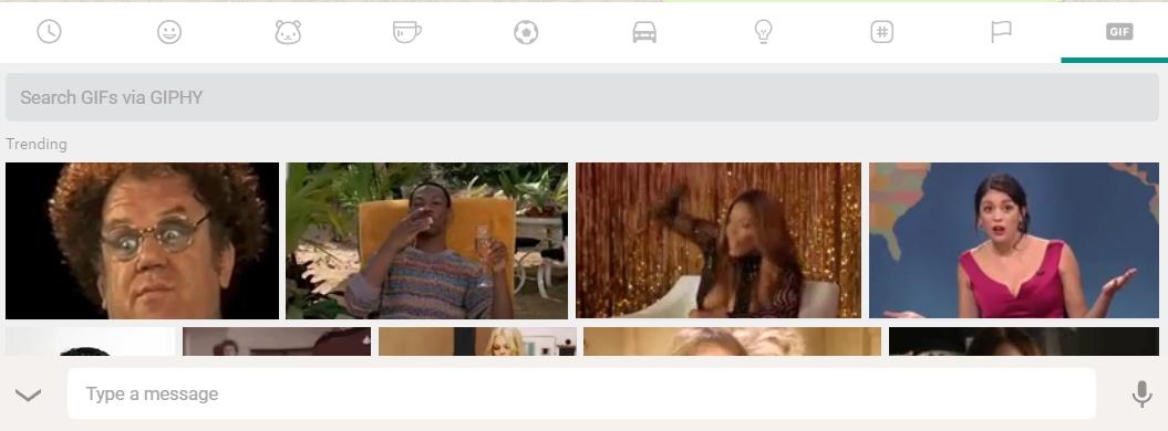 另一個功能是GIF隨選,只要在EMOJI欄,按最後的GIF功能點擊即可。