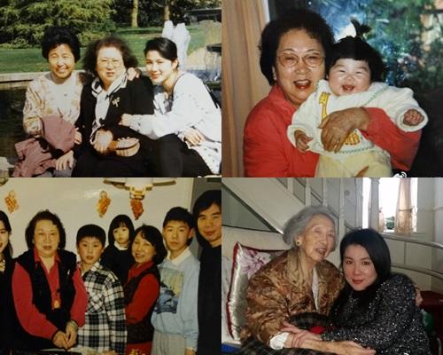 翁媽媽生前與家人生活照。