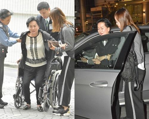 祥嫂今午抵醫院時要輪椅代步,睇完醫生明顯好好多。