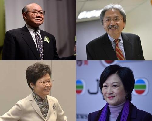 四名特首參選人胡國興(左上)、曾俊華(右上)、林鄭月娥(左下)以及葉劉淑儀於報章比併政綱。資料圖片