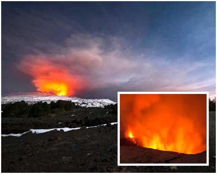 意大利西西里島埃特納火山周四突然猛烈爆發。AP圖片