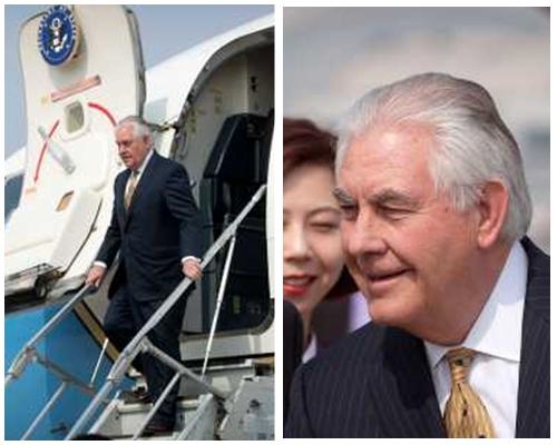 蒂勒森乘坐專機轉抵北京,展開兩日訪華行程。