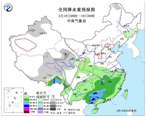 中央氣象台預計,今日至下周一期間,南方雨勢仍然較強,大部分地區降雨量可達中到大雨。 網圖