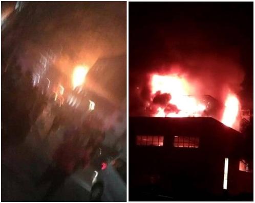 現場曾傳出爆炸聲,火場面積約200平方米。網圖