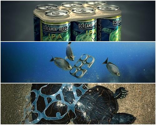 啤酒套環即使扔進大海,被海洋生物吞下,也不會構成危險。網圖