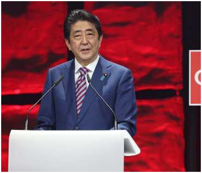 安倍出席漢諾威舉行的全球規模最大的資訊科技博覽會,並在開幕禮發表演說。AP圖片