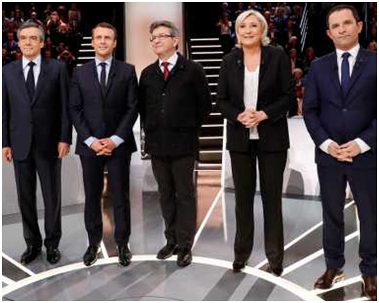 法國總統大選5位候選人周一進行電視辯論。AP圖片