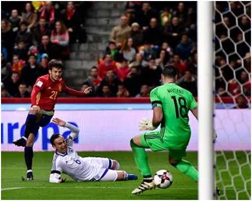 西班牙4:1大勝以色列。大衛施華、維托洛、迪亞高哥斯達及伊斯高各入一球。AP