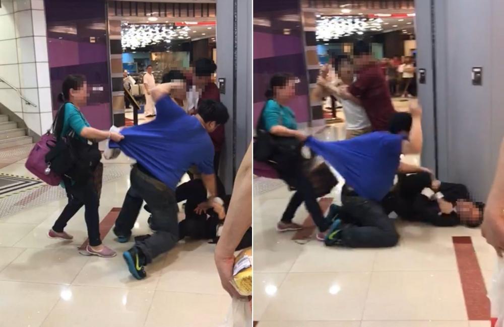 男子揮拳狂毆保安。目擊者提供