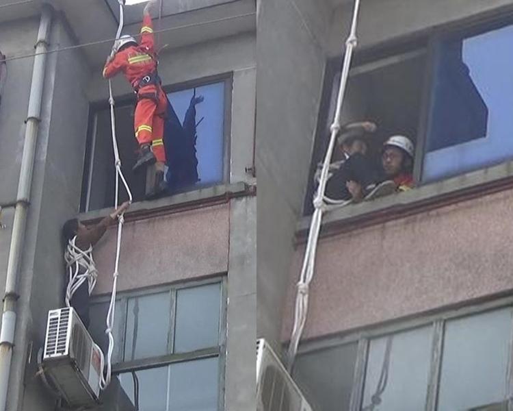 消防員趕至救回賈女士。