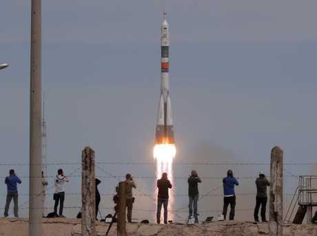 俄羅斯聯合號太空船今天飛抵國際太空站。AP