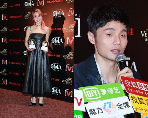 容祖兒、李榮浩昨晚在全球華語榜中榜頒獎禮中奪獎。