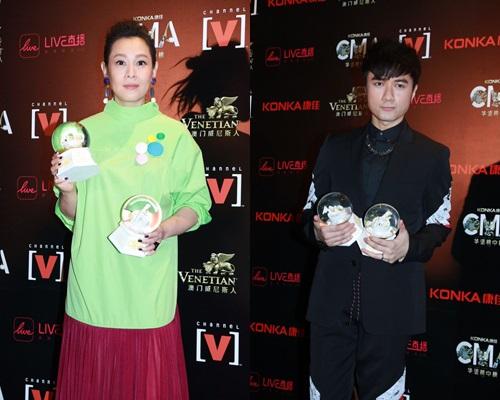 劉若英、古巨基昨晚出席《全球華語榜中榜暨亞洲影響力大典》。