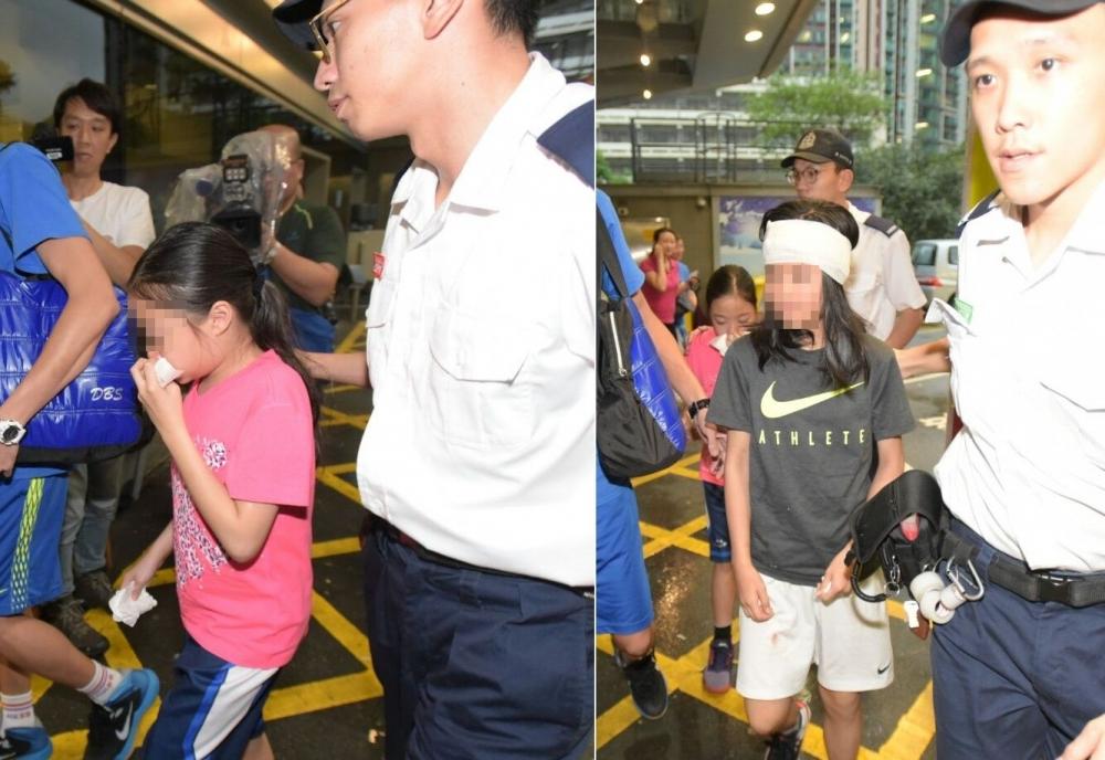 兩名女童受傷送院。黃文威攝