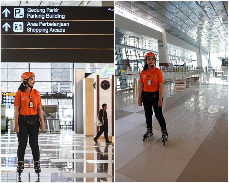 机场助理戴着头盔,脚踏滚轴溜冰鞋,行动快速。网图
