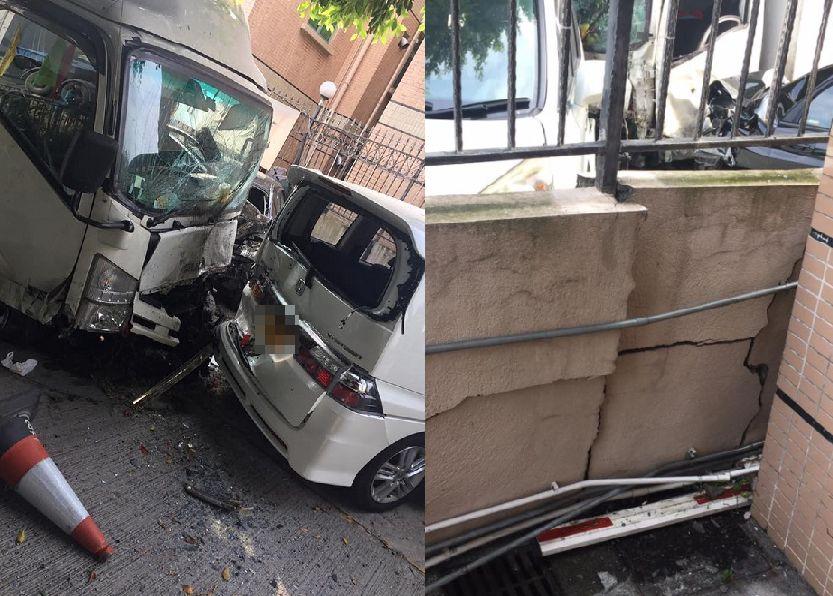 貨車連撞3部私家車,屋苑圍牆損毀。