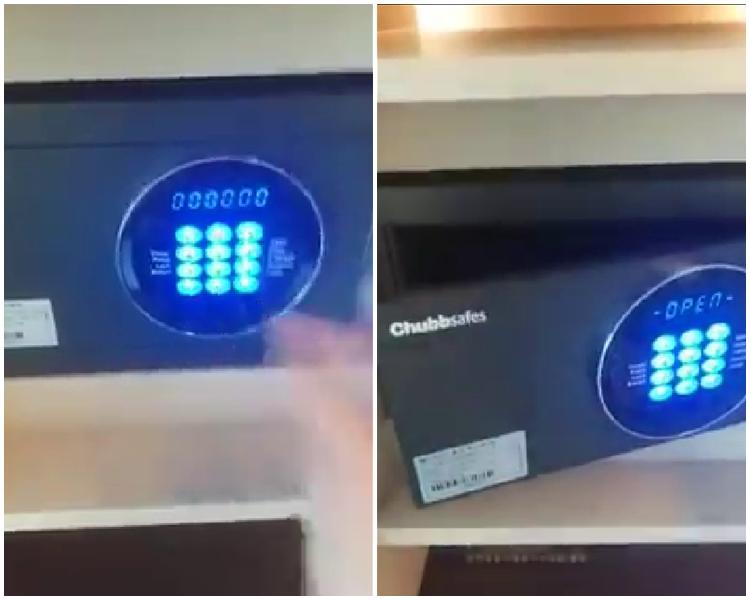 片段上載者指,只要輸入「000000」便可以打開夾萬。片段截圖