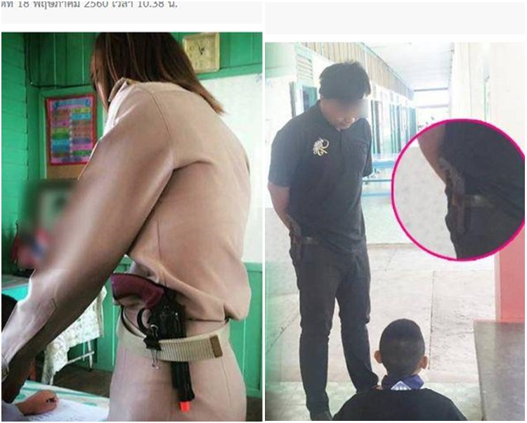 當地網民在社交網站貼相爆料,指當地多位老師在腰間別著槍在管教學生。網圖