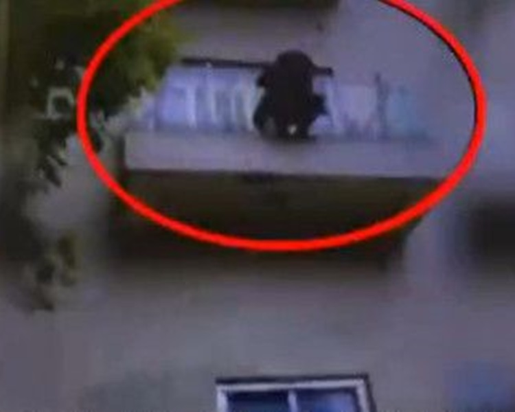 青年站出陽台跳樓。網圖