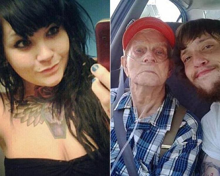 亞曼達(左)31刀殺死外公(右二),並與屍體自拍。網上圖片