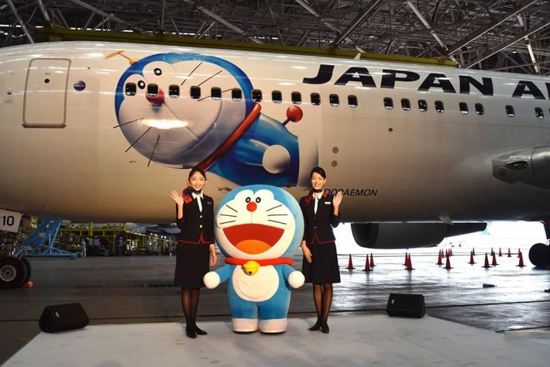 「多啦A夢號」東京至北京航綫首飛。日航FB