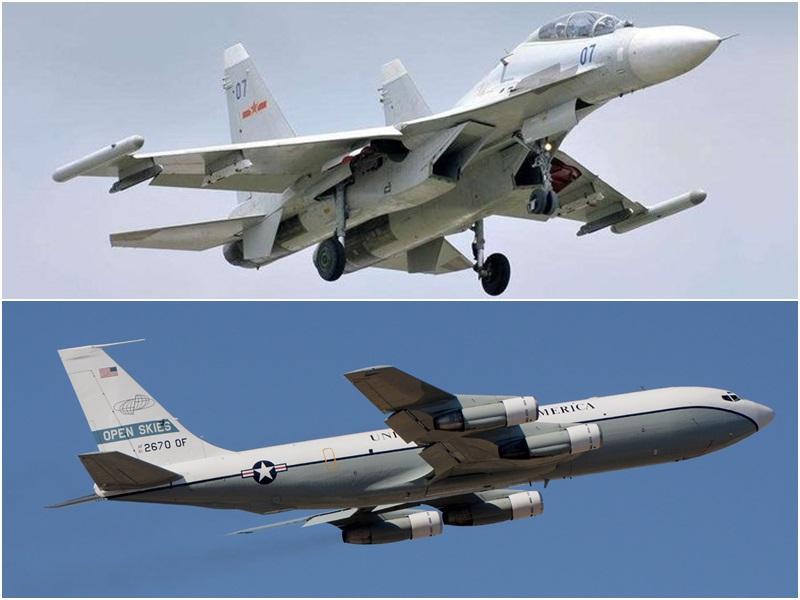 蘇-30戰機(上圖)與WC-135核偵察機(下圖)。資料圖片