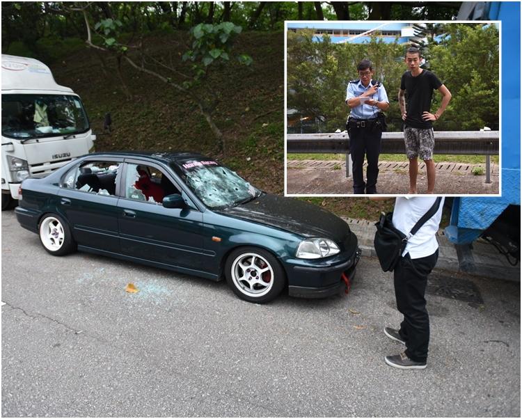 前後擋風玻璃及左右車窗共6塊玻璃全遭硬物擊碎。小圖右為車主。