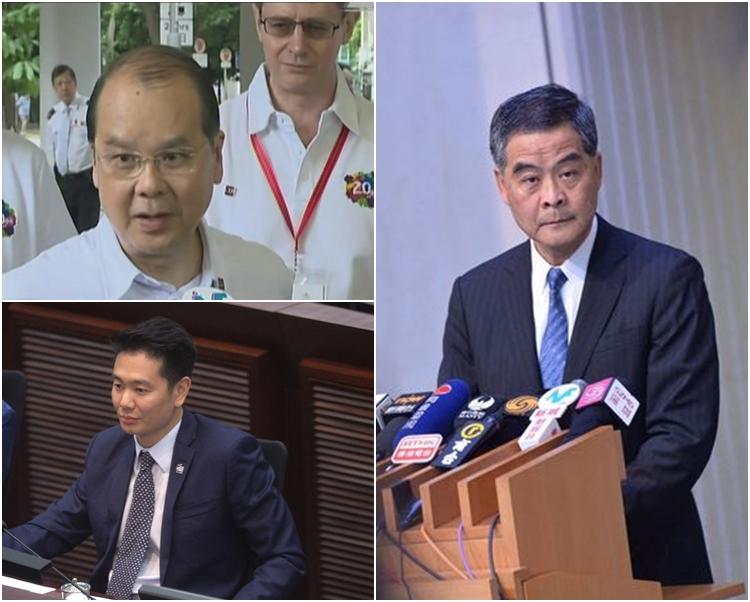 張建宗(左上)指梁振英(右)將於6月1日出席行政長官答問會。左下為周浩鼎。