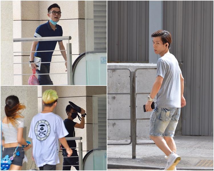 被告鍾志華(右)、李卓軒(左上)及鄧敬宗(右下黑口罩)早上先後抵達法庭。