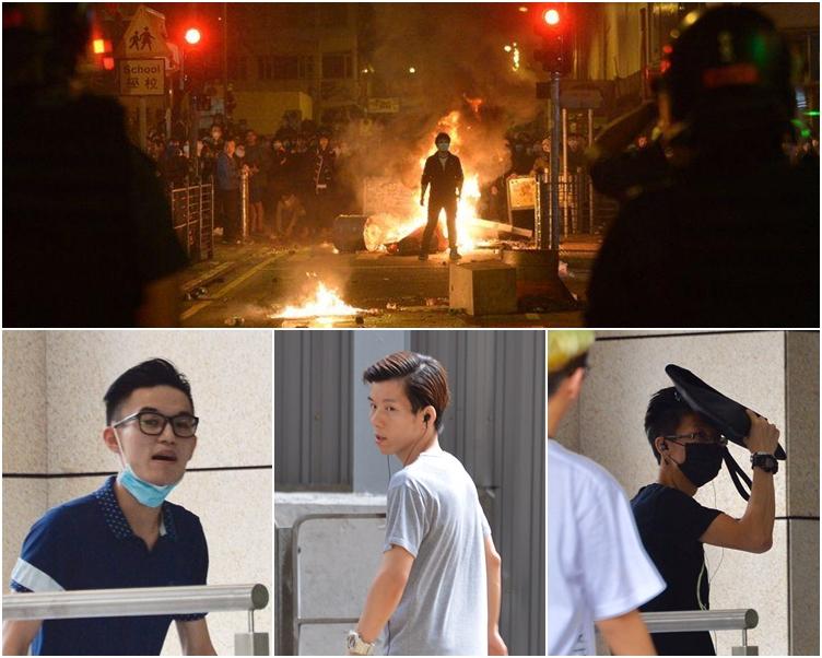 被告李卓軒(左)、鍾志華(中)及鄧敬宗(右黑口罩)。資料圖片