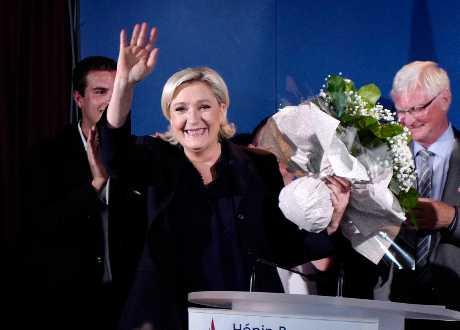 極右派領導人瑪琳勒龐當選。AP