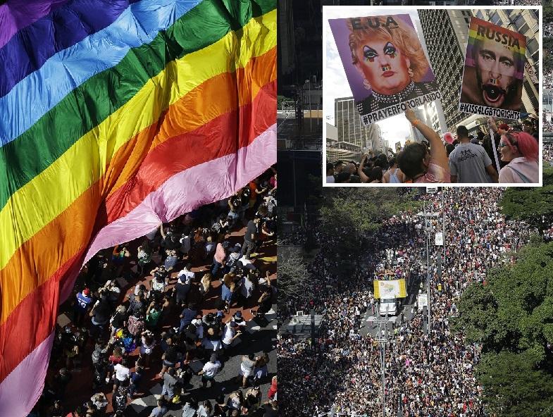 巴西最大城市聖保羅周日舉行一年一度的同性戀者大巡遊。美聯社