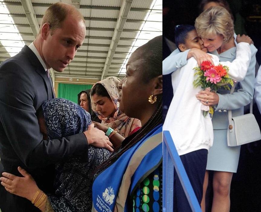 威廉王子放下皇室成員身份,擁抱安慰婦人,盡展已故戴安娜王妃風範。
