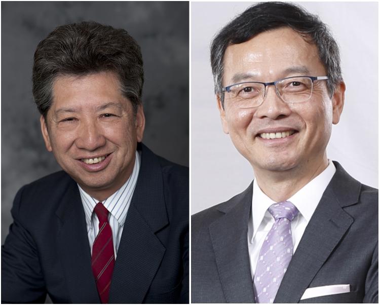湯家驊(左)希望能協助政府與泛民溝通。右為林正財。
