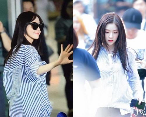 潤娥、Irene都有這幾時都流行的藍白間條恤衫。