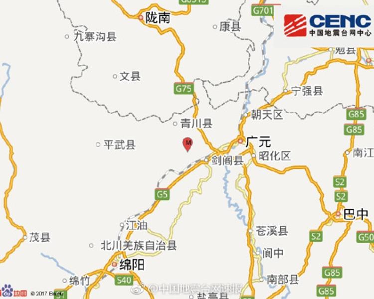 震中距劍閣縣19公里。圖:中國地震台網