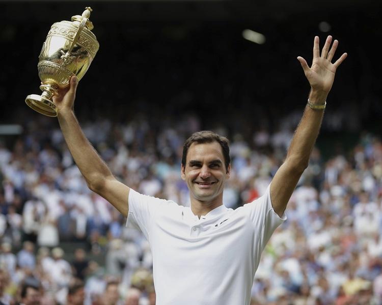 瑞士網球手費達拿創歷史第八度奪得溫布頓網球賽冠軍。AP