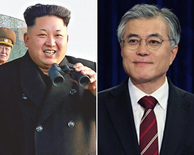 平壤政府未回應文在寅(右)領導的南韓政府要求。