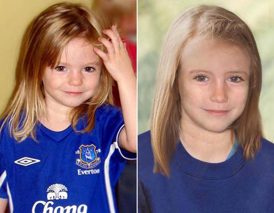 左面是馬德琳3歲時的照片,右面是法庭素描師推測她在9歲時的樣子。網上圖片