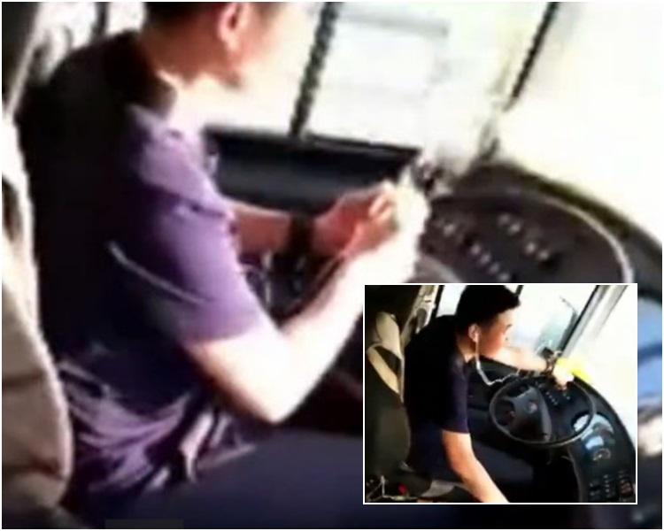 司機邊揸車邊一心多用表演削蘋果。