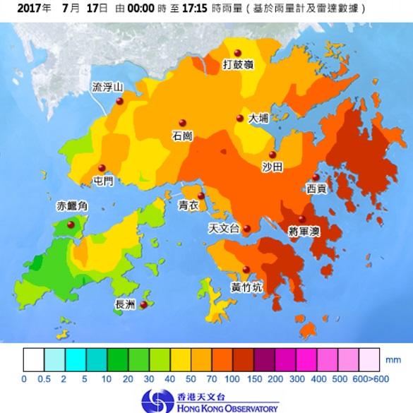 本港東部最大雨。