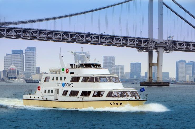 赴日旅遊可選擇乘搭免費的「新東京丸」考察船,飽覽東京灣美景。