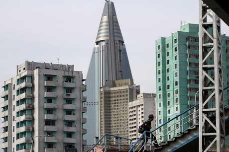 北韓早前首次試射洲際彈道導彈。AP
