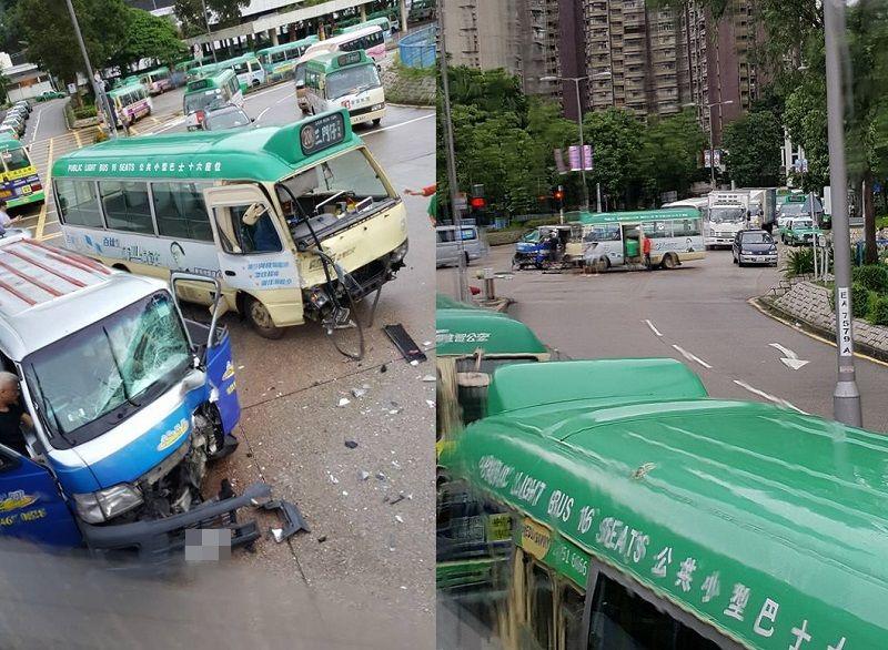 大埔雅運路近南運路一架小巴與一架輕型貨車相撞,造成4人受傷。網民Raymond Leong/ 香港突發事故報料區